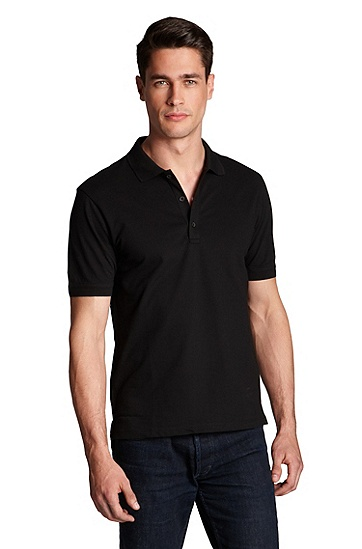 'Nono ' | Slim Fit, Stretch Cotton Polo Shirt, Black