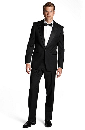 'Cary/Grant' | Classic Fit, Virgin Wool Peak Lapel Tuxedo, Black