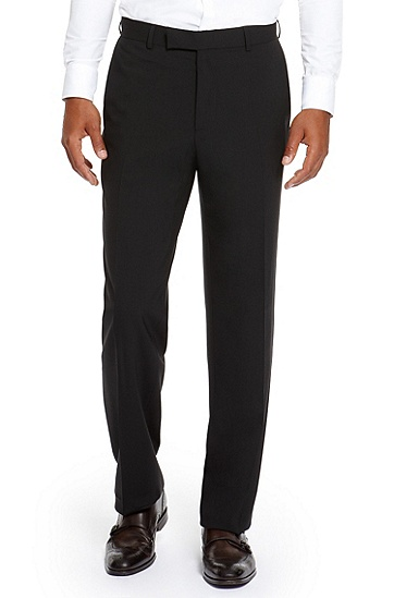 'James' |  Classic Fit, Virgin Wool Dress Pant, Black