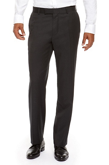 'James' | Classic Fit, Virgin Wool Dress Pant, Dark Grey