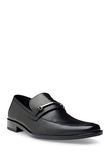 'Carl ' | Leather Buckle Detail Loafer, Black