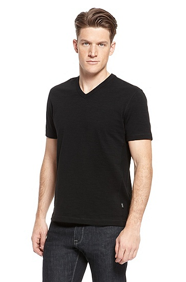 'Eraldo' | Cotton V-Neck T-Shirt, Black
