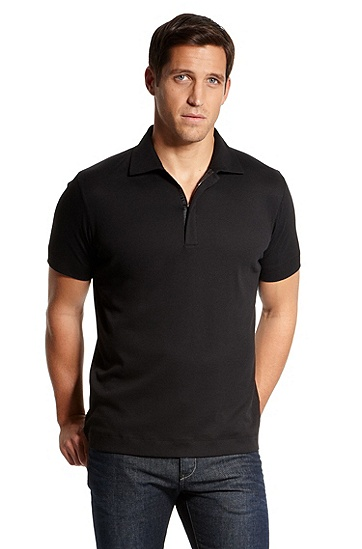 'Verona' |  Regular Fit, Cotton Polo Shirt, Black