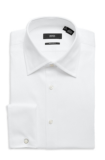 'Lawrence ' | Classic Fit, Modified Point Collar French Cuff Tuxedo Shirt, White