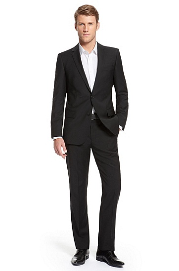 'Astro/Hill' | Modern Fit, Virgin Wool Suit , Black