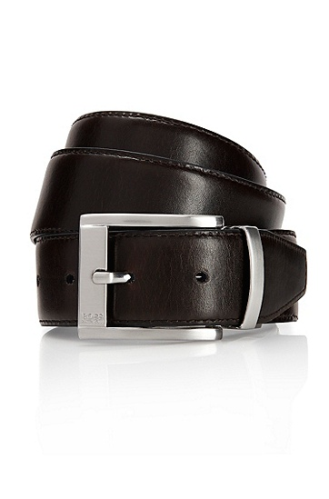 'Uthas' | Leather Reversible Belt , Dark Brown