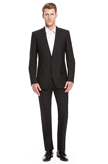 'Amaro/Heise' | Slim Fit, Stretch Wool Suit , Black