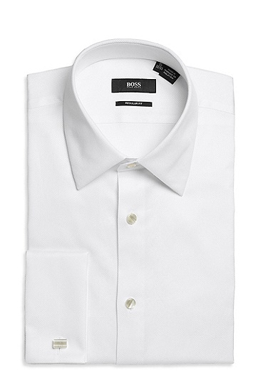 'Emmery ' | Classic Fit, Modified Point Collar Tuxedo Shirt, Open White