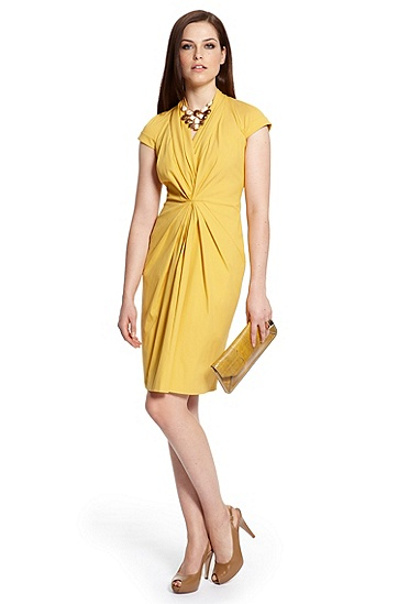 Gathered Waist Stretch 'Dinola' Dress, Medium Yellow