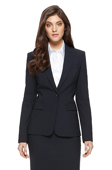 'Juicy' | Regular Fit, Stretch-Wool Blazer, Navy