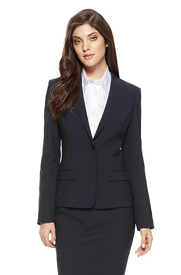 'Jaelle' | Regular Fit, Stretch-Wool Blazer, Navy