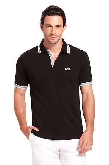 'Paddy  ' | Modern Fit, Cotton Polo Shirt, Black