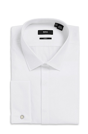 'Jason  ' | Slim Fit, Modified Point Collar Tuxedo Shirt, White