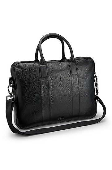 'Buxton ' | Pebbled Leather Briefcase Bag, Black