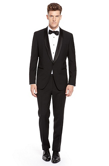 'Sky/Gala' | Modern Fit, Shawl Collar Tuxedo, Black