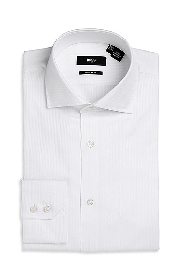 'Gerald ' | Regular Fit, Spread Collar Cotton Dress Shirt, White