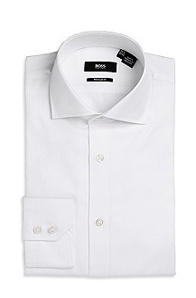 'Gerald ' | Regular Fit, Spread Collar Cotton Dress Shirt
