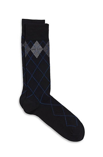 'RS Design US ' | Cotton-Modal Argyle Socks, Black