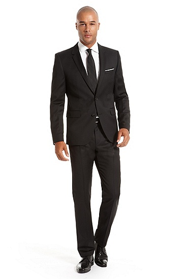 'Aeron/Hamen' | Extra Slim Fit, Virgin Wool Superblack Suit, Black