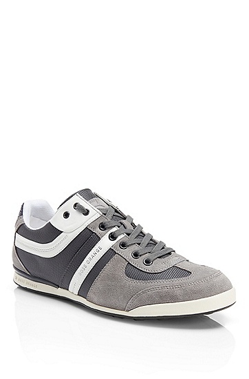 'Keelo' | Nylon and Leather Lace-Up Sneaker, Medium Grey