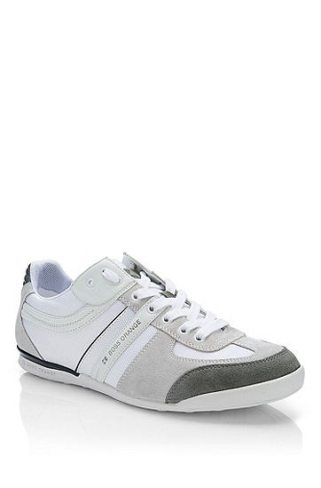 'Keelo' | Nylon and Leather Lace-Up Sneaker, White