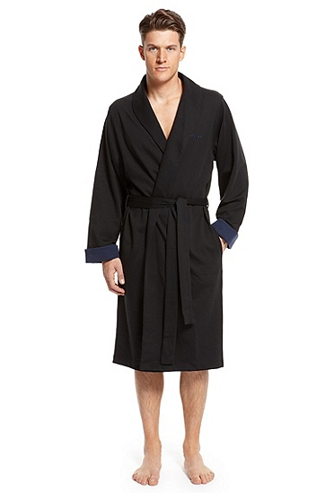 'Innovation' | Cotton Shawl Collar Robe, Black