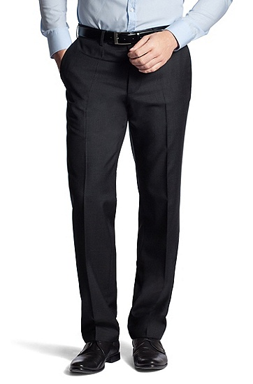 'Movis' | Classic Fit, Virgin Wool Dress Pant, Dark Grey