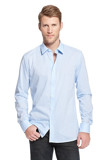'Elisha' | Slim Fit, Cotton Casual Shirt, Light/Pastel Blue