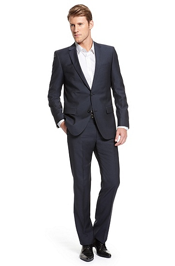 'Astro/Hill' |  Modern Fit, Virgin Wool Suit , Dark Blue