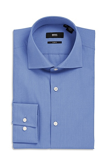 'Jaron  ' | Slim Fit, Spread Collar Dress Shirt, Medium Blue