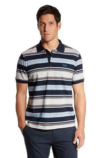 Modern Fit Striped 'Paddy 1' Polo Shirt, Navy