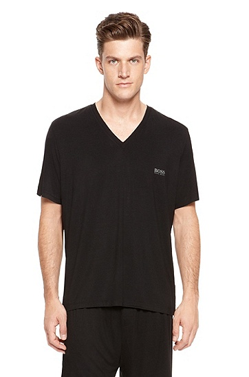 'Shirt' | Micromodal-Blend V-Neck T-Shirt, Black