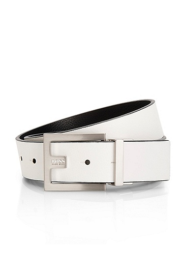 Leather 'Fleming-U' Reversible Belt, Natural