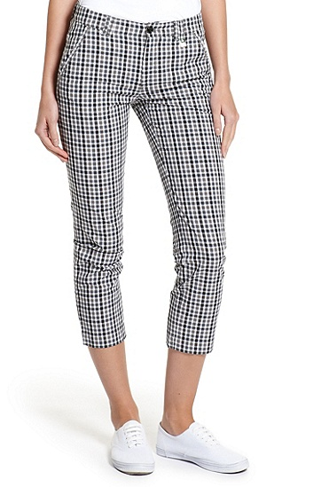 Check-print Stretch-Cotton 'Heva-W' Cropped Pant, Black