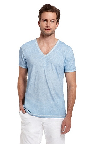 'Toulouse' | Cotton Garment-Dyed T-Shirt, Bright Blue