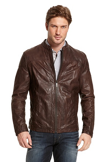 Leather 'Jemini1-W' Biker Jacket, Medium Brown