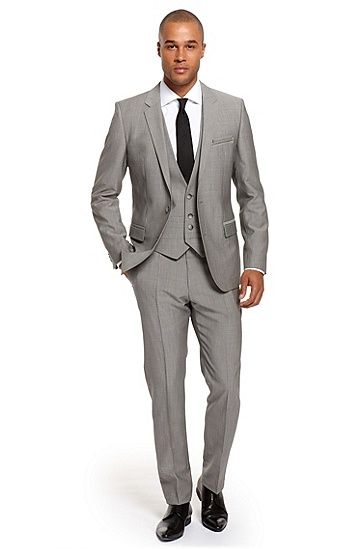 Extra Slim Fit Three-Piece 'Arent/Wang/Hamen' Suit, Medium Grey