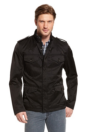 Coated Trench-Style Cotton-Blend 'Oxann-W' Jacket, Black