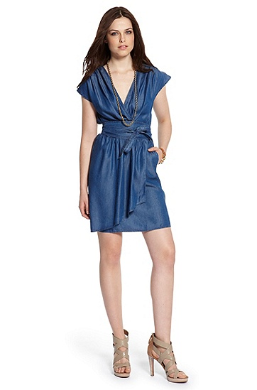 Chambray Wrap 'Abetti-W' Dress, Dark Blue