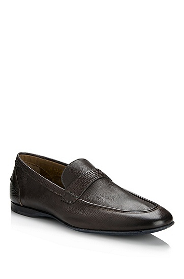 Leather Loafer 'Casdo' Shoe, Dark Grey