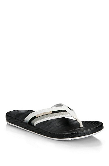 Synthetic and Rubber 'Shoreline Hawaii' Thong Sandal, White