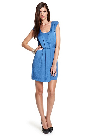 Jersey and Crepe 'Designa' Wrap-effect Dress, Medium Blue