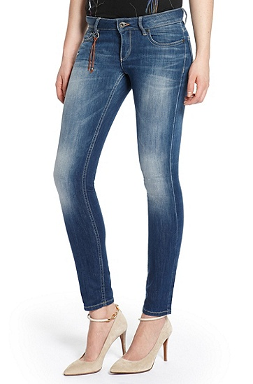 Slim Fit Sandwashed Stretch ´Lunja1' Jeans, Dark Blue