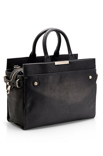 Leather Top Handle 'Treys' Bag, Black