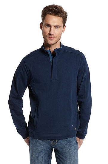 High Collar 'Sondrio 30' Sweatshirt, Open Blue