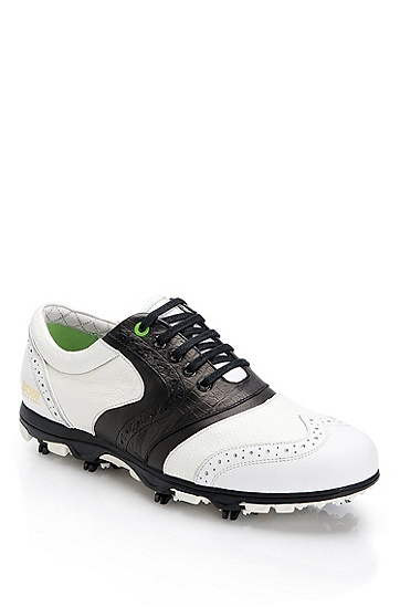 Cleated Wingtip Leather 'White Sunday' Golf Shoe, White