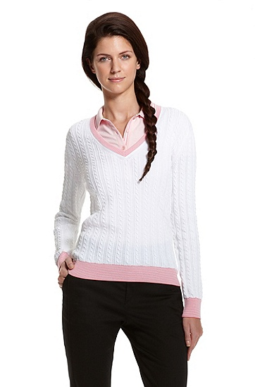 Cable-Knit 'VENO' Sweater, White