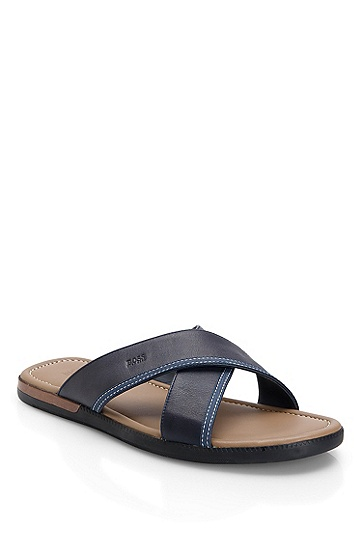 Leather Criss-Cross 'Melvio' Sandals, Navy