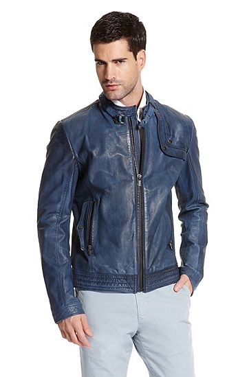 Leather 'Lokto' Jacket, Open Blue