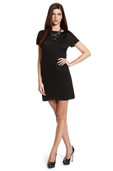 Pleated Silk 'Karleni-1' Dress, Black